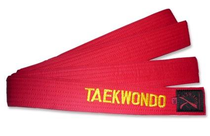 Ceinture taekwondo rouge brodée