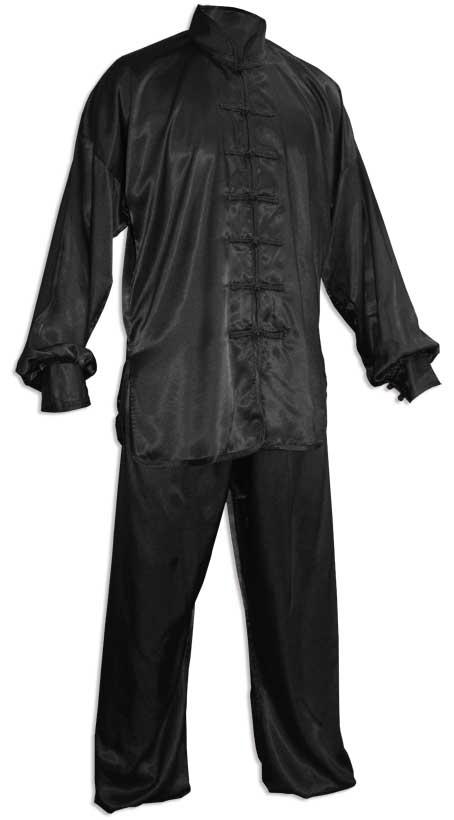 kimono tenue tai chi chuan en soie noir. Black Bedroom Furniture Sets. Home Design Ideas
