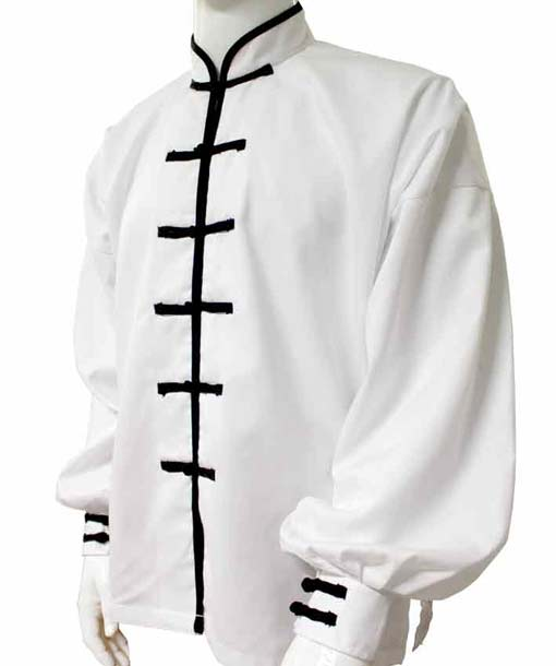 White KUNG FU suit 7 buttons